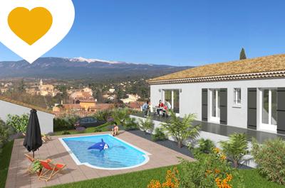 nieuwbouw villa kopen in Zuid-Frankrijk met airco, zwembad en prachtig zicht op de wijngaarden en de Mont Ventoux